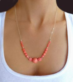 Pink Coral Statement Necklace  Beaded Pink by GlassPalaceArts, $52.90