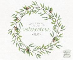 Watercolor wreath: PNG floral clip art / Wedding invitation clip art / acorn wreath / commercial use /winter forest wreath CM0085c by LisaGlanzGraphics on Etsy
