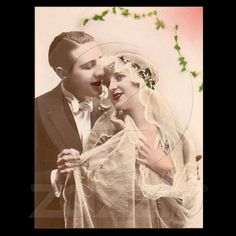 Shop Vintage Wedding Postcard created by BeautifulGargoyle. Personalize it with photos & text or purchase as is! Vintage Wedding Photography, Vintage Wedding Photos, Vintage Pictures, Vintage Images, Vintage Weddings, Gatsby Wedding, Vintage Gowns, Vintage Photo Booths, Photo Vintage