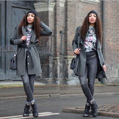Larissa B. - Vero Moda Dark Greay High Waist Zip Jeans, Y.A.S. Trenchcoat Army Green With Black Leather, Vero Moda Floral Top T Shirt, Topshop Chunky Boots - CITY TRIPPING