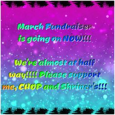 I'm raising money for 2 hospitals near and dear to the my heart!!! To help go to our group www.facebook.com/groups/541456466038314  I'm almost 1/4 way to my goal for this fundraiser!!!! Please help me to donate to Children's Hospital of Philadelphia and Shriner's Hospital of Philadelphia!!!