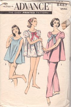 1950s Advance 8489 Misses Dainty Pajamas Pattern Shorties by mbchills