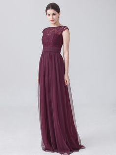 Tulle Lace Dress with Cap Sleeves; Color: Burgundy; Fabric: Lace, Tulle, Chiffon