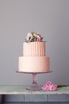 Two tier PINK cake. Soo CUTE! Love love love. So simple and chic.