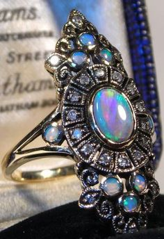 """~ An Amazing Vintage Opal Cocktail Ring ~ Someone get the me the """"Smelling Salts""""...."""