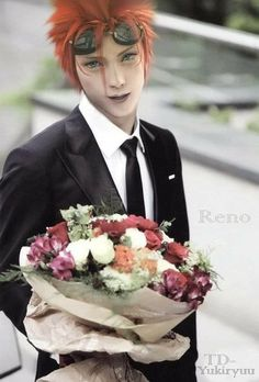 Reno has got a bouquet for someone very special has requested a new manip of Reno. Reno: This Bouquet is for. Reno Final Fantasy, Fantasy Series, Vincent Valentine, Me Me Me Anime, Deviantart, Bean Paste, Playstation Games, Anime Boys, Violin