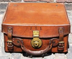 -a small, vintage, leather suitcase. on top of the chimney cupboard- Leather Suitcase, Leather Box, Leather Luggage, Vintage Leather, Leather Case, Brown Leather, Vintage Suitcases, Vintage Luggage, Vintage Trunks