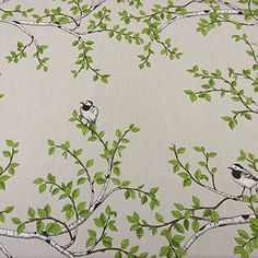 Cotton Canvas, Cotton Fabric, Birch Branches, Birds, Etsy, Vintage, Design, Fabrics, Art