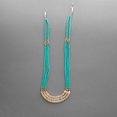 Vintage Bone Necklace. Multistrand Tribal. Turquoise. Egyptian Inspired via Etsy.