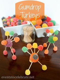 Thanksgiving Crafts for Kids - Gumdrop Turkeys - eventstocelebrate.net