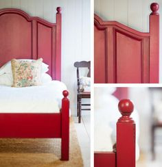 Farmhouse Bed in Cranberry encapsulates cottage style Handmade Furniture, Diy Furniture, Bedroom Furniture, English Farmhouse, Farmhouse Bed, Farmhouse Ideas, Red Bedding, Cottage Furniture, Beautiful Bedrooms