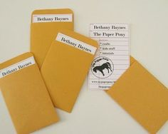 library envelope template pattern & downloadable card pic