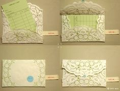 I'm thinking these would make low-tech hi-touch gift certificate envelopes for that consignment shop with the je ne sais quoi that scorns a plastic (non-biodegradable) card. Don't be thrown by the library card (even I'M not that old-fashioned!) simply fold your doily around the gorgeous note cards you plan to use as certificates.