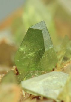 Ludlamite, (Fe++,Mg,Mn)3(PO4)2•4(H2O) , crystals on Quartz