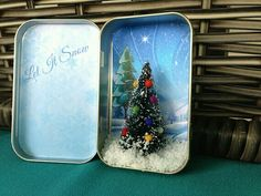 Items similar to Pocket Christmas. Miniature Christmas Scene from Recycled Mint Tin to bring Holiday Cheer on Etsy Christmas Scenes, Noel Christmas, Winter Christmas, All Things Christmas, Christmas Ornaments, Christmas Projects, Holiday Crafts, Christmas Shadow Boxes, Mint Tins