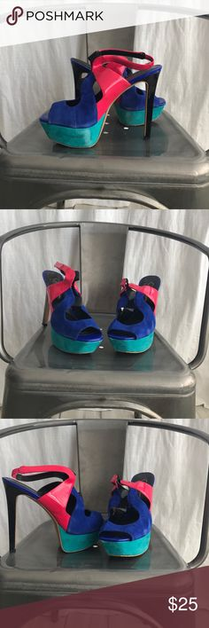 Jessica Simpson Bendie style heels Super fun colorful Jessica Simpson heels. Wore one time. Has some scuffs (see pictures) price reflects.Offers welcome Jessica Simpson Shoes Heels
