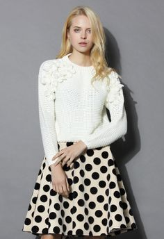 My Flowers and Pearls Sweater in White