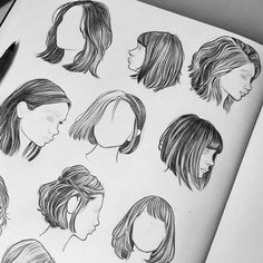18 vector female hairstyles by colorshop on Creative Market, Cool Art Drawings, Pencil Art Drawings, Art Drawings Sketches, Girl Hair Drawing, Drawing Hair Tutorial, Hair Sketch, How To Draw Hair, Drawing Techniques, Art Sketchbook