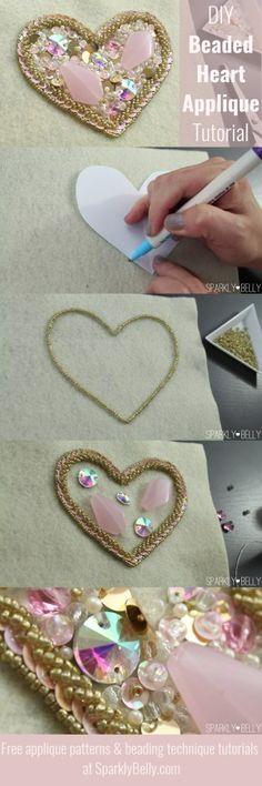DIY beaded heart applique tutorial - for dance costumes, weddings, decor!