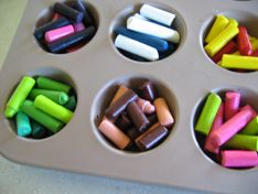 """I did this today - melt broken crayons in oven on 275 for 7-8 minutes - makes """"funky chunky"""" crayons that change colors while they're coloring!  My kids enjoyed helping to create them!"""