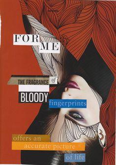 the fragrance of bloody fingerprints by Piia Myller Collage Artists, Collages, Original Art, Fragrance, Fingerprints, Illustration, Artwork, Movie Posters, Pictures