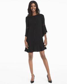 Bell-Sleeve Black Shift Dress