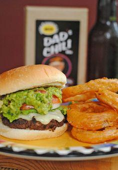 Chili Cheddar Burgers W/Grilled Guac & Spicy Onion Rings