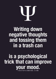 Negative thoughts into the trash