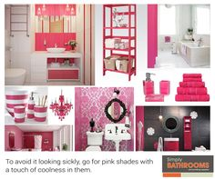 Looking for a pretty in pink bathroom? Simply Bathrooms, Pink Bathrooms, Bathroom Colors, Perfect Pink, Pretty In Pink, Home Improvement, Kitchen Cabinets, Heavenly, Colours