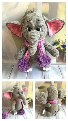 Free Crochet Elephant Pattern & many amigurumi elephant idea... Crochet Elephant Pattern, Crochet Amigurumi Free Patterns, Crochet Motif, Free Crochet, Step By Step Crochet, Amigurumi Doll, Crochet Animals, Ballerina, Gautier