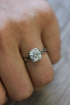 Engagement Ring with Moissanite and 14k Palladium by onegarnetgirl, $3198.00