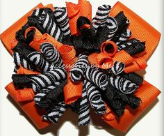 Korkers Hair Bow Curly Orange Black Ribbons by accessoriesbyme
