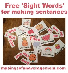 Free printable sight words for young kids to create their own sentences