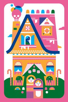 Animated gif of the color separations for my Hansel and Gretel poster by Bandito Design Co.