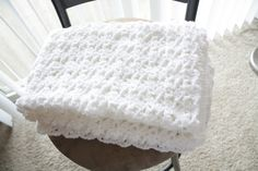 white crochet blanket
