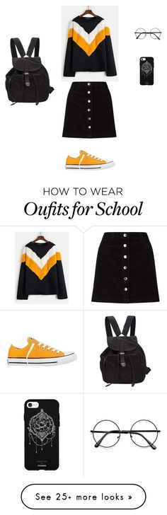 """""""school outfit"""" by evikletzer on Polyvore featuring Converse, Prada, Miss Selfridge and Fifth & Ninth"""