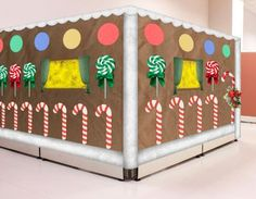 Ideas for Christmas Cubicle Decorations Gingerbread cubicle with candy canes Christmas Cubicle Decorations, School Door Decorations, Christmas Themes, Desk Decorations, Gingerbread Village, Gingerbread Decorations, Christmas Hallway, Cube Decor, Candy Land Christmas