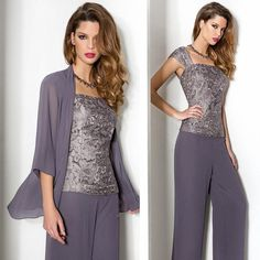 Grey Formal Dresses for Mothers 2015 Spring Summer Lace Elegant Portrait Long Sleeve Chiffon Bolero Plus Size Mother of the Bride Pant Suits
