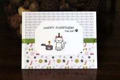 Handmade Birthday Card, From The Cat, Happy Purrthday, Tuna Cake, Kitty, Blank Inside, Free US Shipping, Unique, One of a Kind by TresorValeur on Etsy