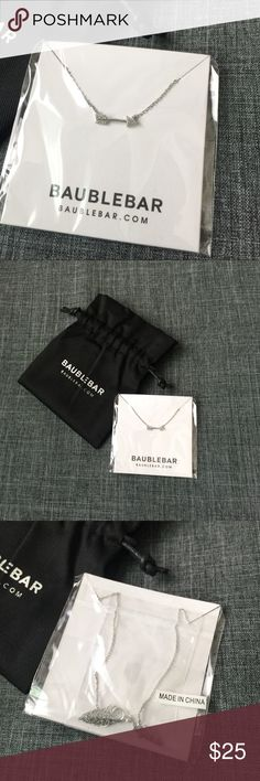Mini Silver Pavé Arrow Necklace Silver mini arrow necklace by BaubleBar. NWT, comes with dust bag BaubleBar Jewelry Necklaces