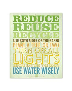 Earth Day Green Living Tips 8 X 10 Poster. $16.50, via Etsy.