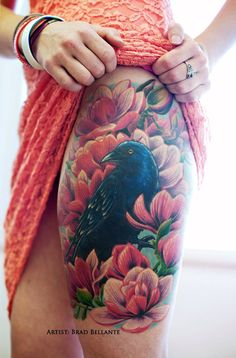 Realistic Raven and Flower Thigh Piece by Brad Bellante at Human Canvas Tattoo Studio, Fredericksburg VA