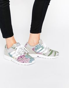 d2d827ed047b adidas Originals Floral Print ZX Flux Sneakers