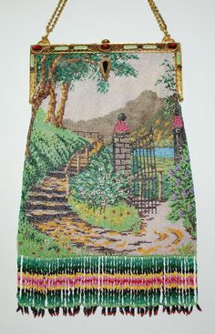 Beaded scenic garden, lake scene, jeweled frame.