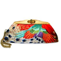 Kimono Clutch-Jewelled Colorfull Peacock Feather - color pallette