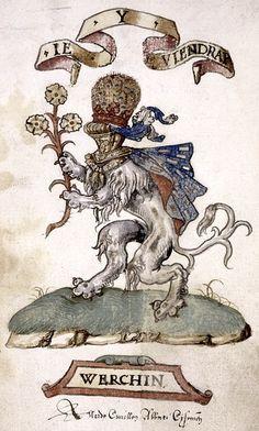 Coat of arms of Werchin (& note of ownership by Allard Cuvillon, Abbot of Cisoing) (f° 65v) -- «Le Triumphe d'Anvers Faict pour la Noble Festes de la Thoison d'Or…», 1555 [Spencer Collection Ms. 060]