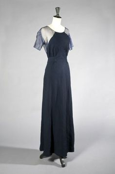 Jean Patou navy cloqué silk evening gown, early 1930s.  Kerry Taylor Auctions.