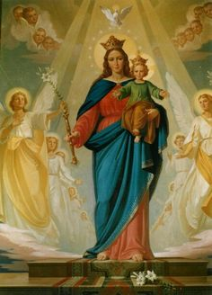 Maria Auxiliadora Mary And Jesus, Jesus Son Of God, Jesus Faith, Heart Of Jesus, Lady Mary, Mother Mary, Divine Mother, Sacramento, Catholic Saints