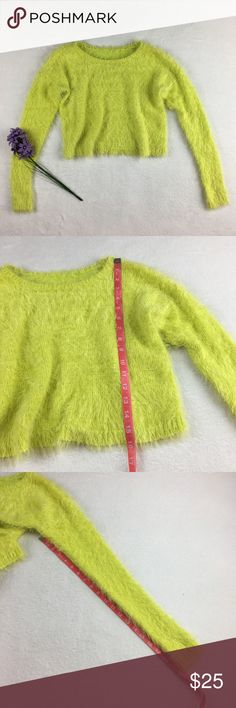 NEW Lime green fuzzy soft crop stretch sweater New without tags Lime green fuzzy crop sweater Very stretchy and super soft A great piece to add to your spring wardrobe. Pair with your favorite high waisted shorts or jeans.  Please see photos for measurements. Could fit a small or a medium.  Feel free to make an offer via offer button only. NO TRADES Sweaters