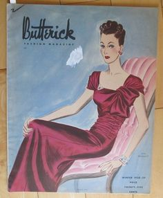 """Winter 1938-39 Butterick Fashion Pattern Book (48 pgs) 30s Magazine 12-1/2 x 9-3/4"""". (48pgs). Magazine illustrates in color & in black & white Butterick patterns for sale in the 30s. Good sld 26.49+6.25 3bds 10/16/15"""